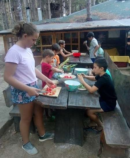 lunch preparation for the kids in the camp