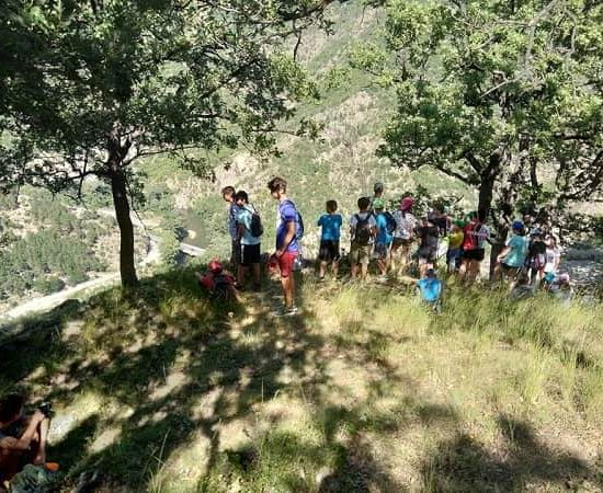 trekking during children's camp