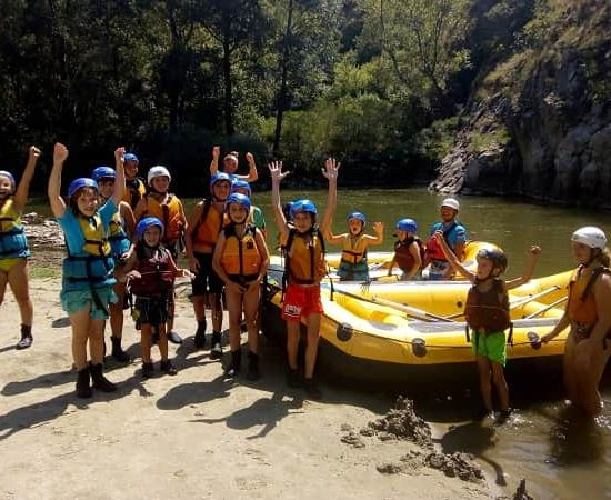 rafting group during children's camp