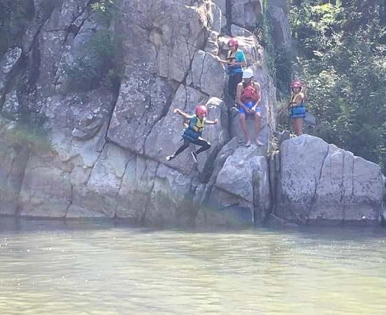 jumps in the river