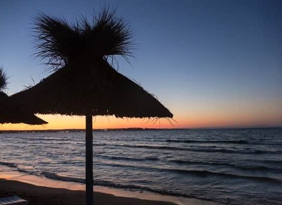 sea camp beach and sunset