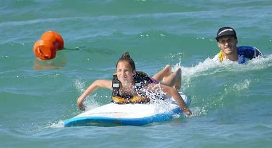 surf for children during summer camp